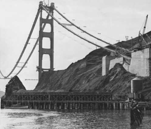 Steel girders of anchorage block of golden gate bridge