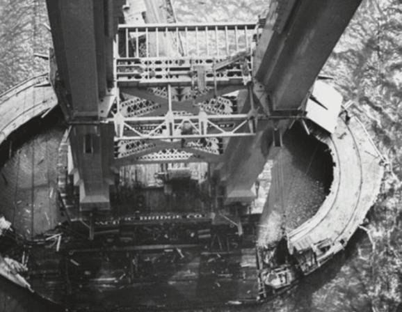 Construction of South Pier of golden gate bridge