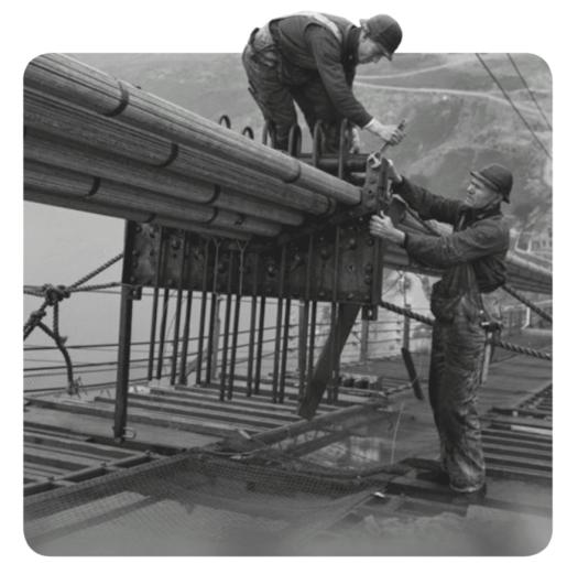 Construction of Cables of golden gate bridge