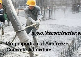 Mix proportion of Antifreeze Concrete Admixture