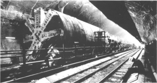 TBM used in the channel tunnel construction