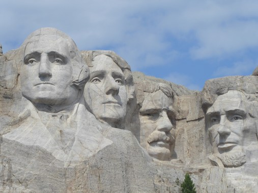 Final view of the four American presidents craved at the Mount Rushmore