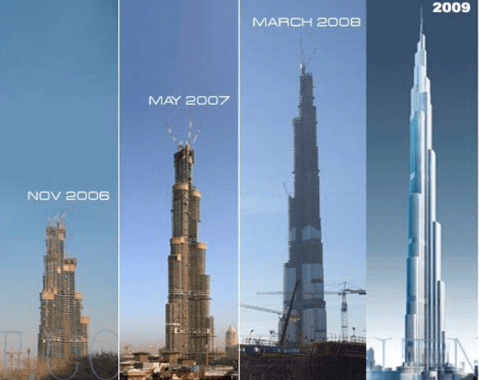 Burj Khalifa tower during construction