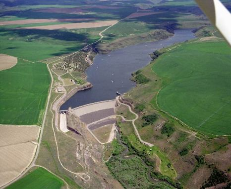 An Earth dam on Teton River in Idaho