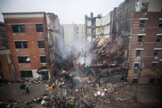 A collapsed building in New York City