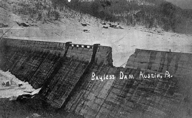 The Austin Dam developed prominent vertical cracks after the blast in the crest