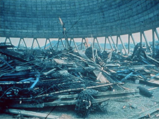 Debris collected after the failure of Willow Cooling Tower
