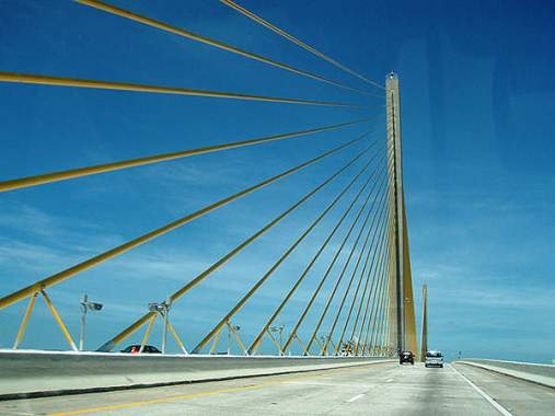Stay cables of the Sunshine Skyway Bridge consist of parallel wires with high amplitude anchorages