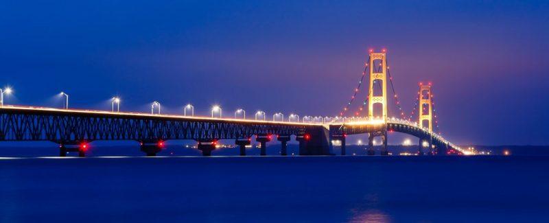 Mackinac Bridge was the longest suspension bridge when built.