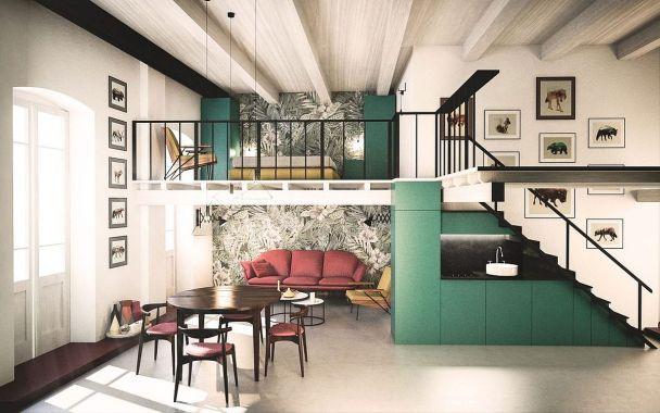 Mezzanine Level Bedroom for a Residence