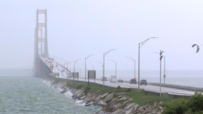 Mackinac Bridge is designed for absolute maximum velocity of wind of 120 miles per hour