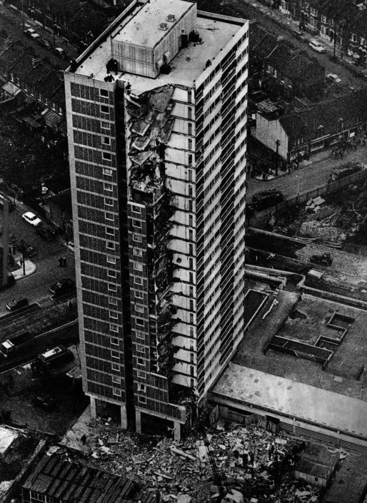 The progressive collapse of the Ronan Point Tower occurred because there were no alternative load paths when one part of an external wall at one level was failed