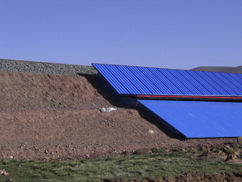 A Shading board installed to decrease the impact of freezing and thawing cycles on the Qinghai–Tibet Railway