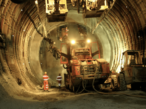 Use of road header to excavate the tunnel