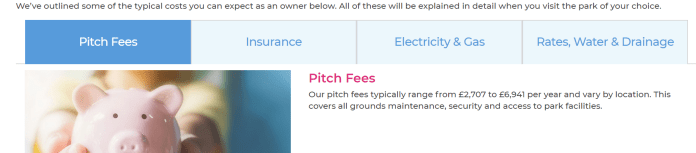 parkdean pitch fees description