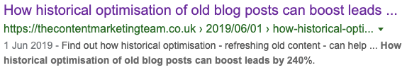 meta description snippet