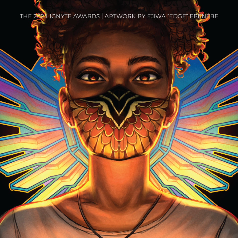 bust of a young Black woman in front of a geometric wing sigil, wearing a mask with feather detail on it