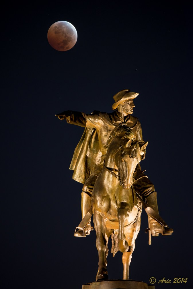 Sam Houston Statue under Blood Moon