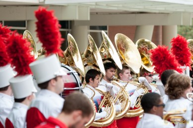 University of Houston Band and flag squads getting ready for par