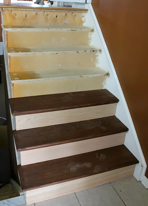 Stairway Remodel Part 3 Installing New Stair Treads And Risers | Wood Treads And Risers | Custom | Metal | Reclaimed Wood | Diy | Mahogany