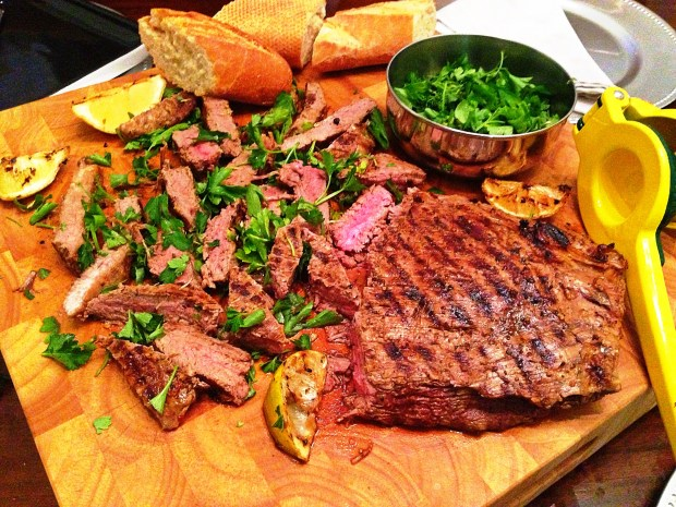 Grilled Flank Steak with Chile and Herb Gremolata
