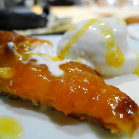 Apricot with Rum Galette and Vanilla Ice Cream