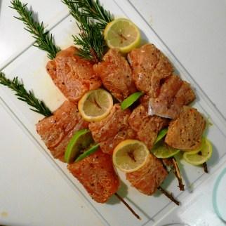 Salmon on Rosemary Skewers_prep
