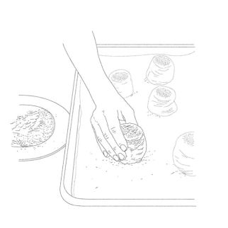 5. Place rolls cut side up on a parchment-lined baking sheet about 2″ apart, and proof in a warm place until doubled in size, about one hour.
