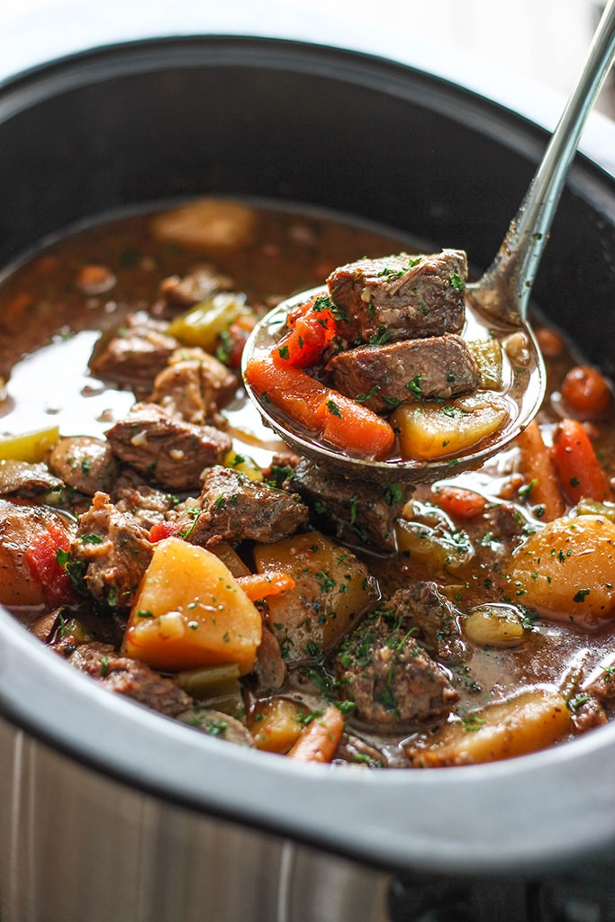 A hearty slow cooker beef stew with fall-apart, tender chuck roast, potatoes and carrots. A comforting, warm meal perfect for the cold weather.