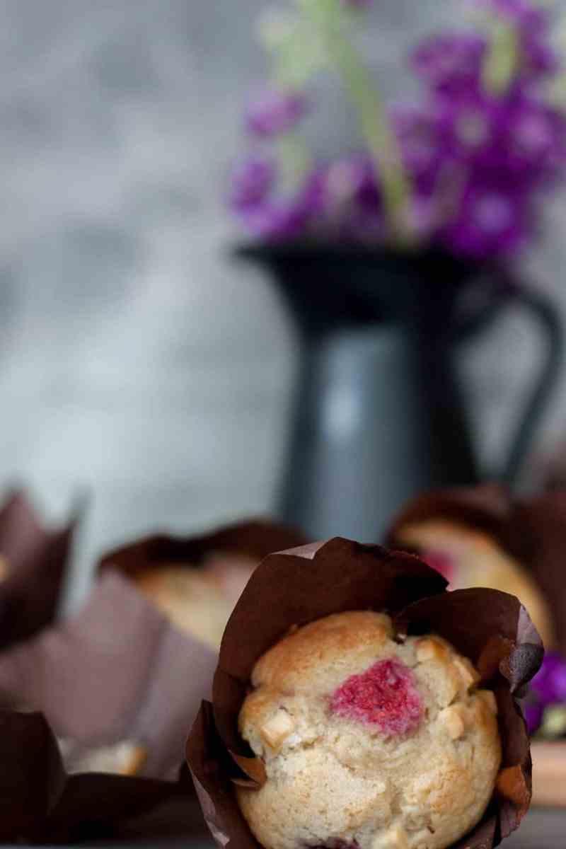 Receta de muffins chocolate blanco frambuesa