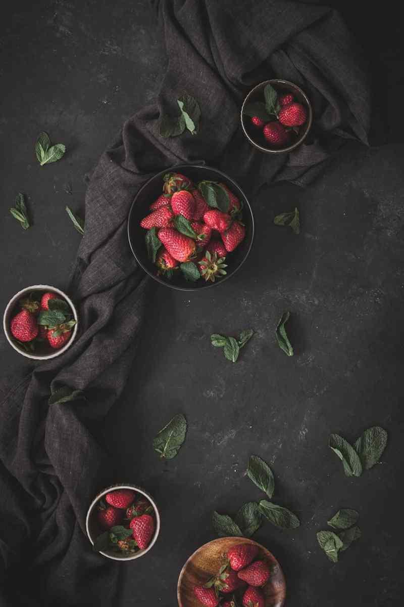 fresas con menta