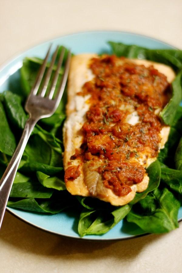 recipe salmon with sundried tomato pesto