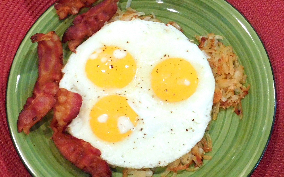 Bacon, Hash browns and Sunny Side Up Eggs Breakfast