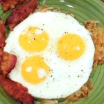 Bacon Hash browns Sunny Side Up Eggs Breakfast