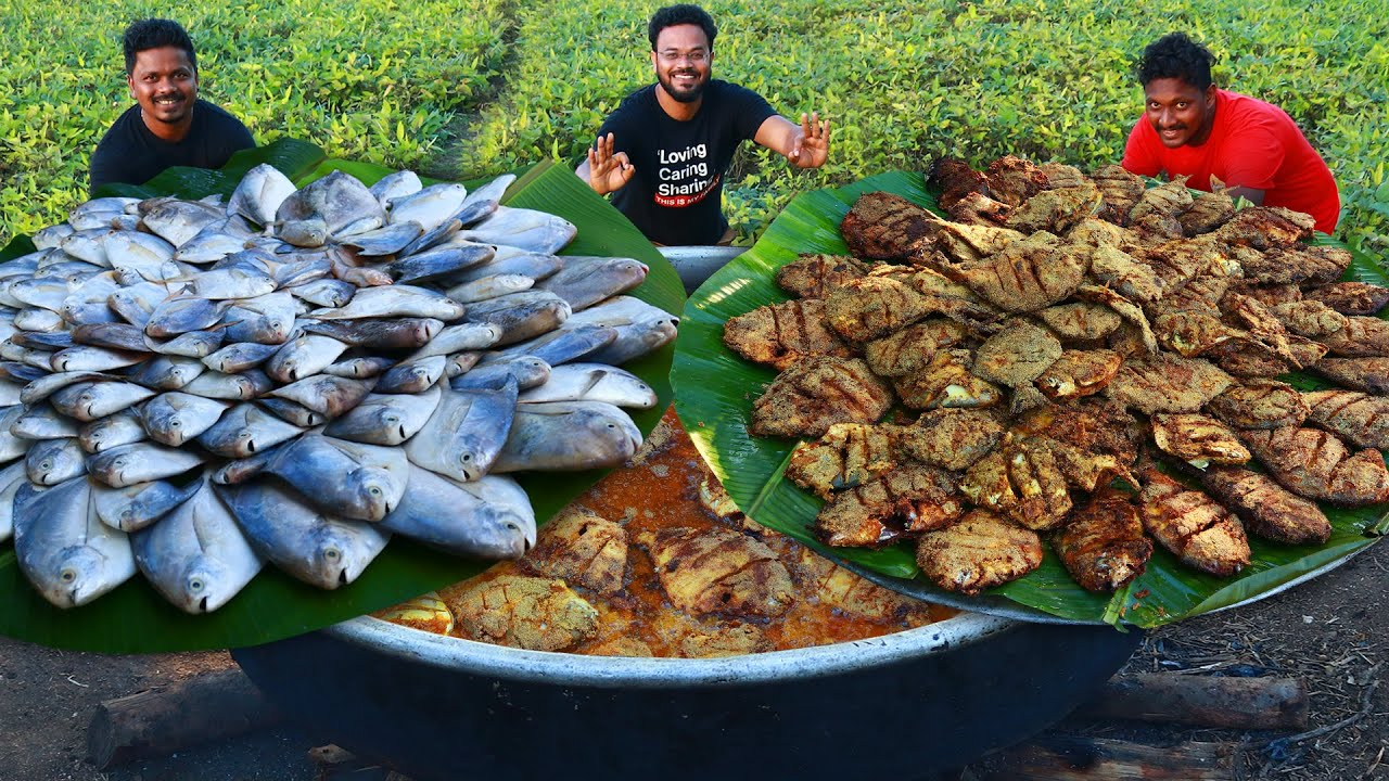 Pomfret Fish Fry Recipe Full Fish Fry By Grandpa Kitchen Fish Cutting And Cleaning