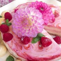 No bake White Chocolate Cheese Cake with Raspberry Swirl.