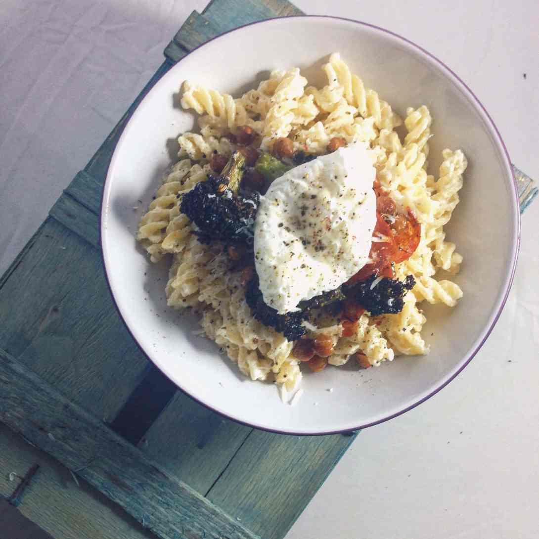 Garlic Pasta With Roasted Broccoli, Chickpeas and Chorizo