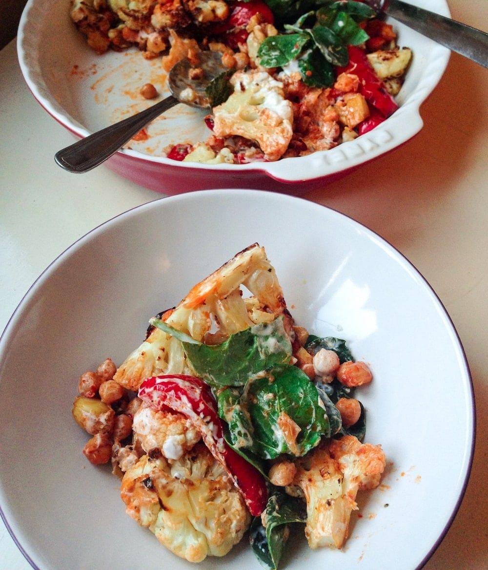 Cauliflower, Roasted Pepper & Chick Pea Salad