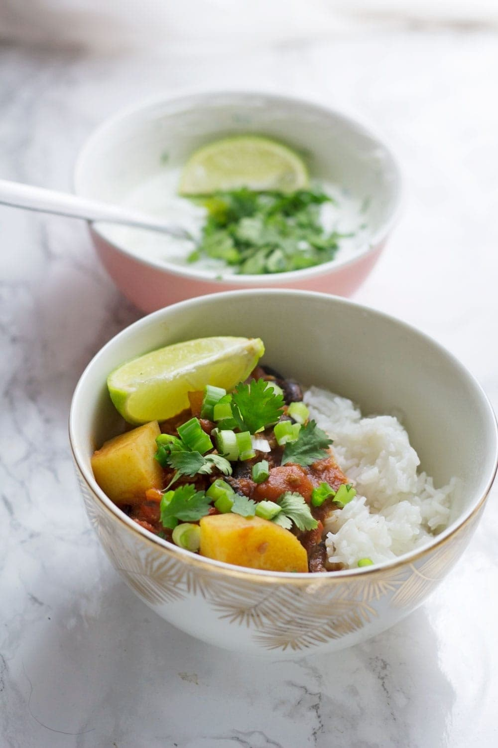 This chorizo chilli is a brilliant twist on a traditional chilli. The addition of potato makes it a hearty meal in its own right and the lime & coriander yoghurt cools the whole thing down perfectly.