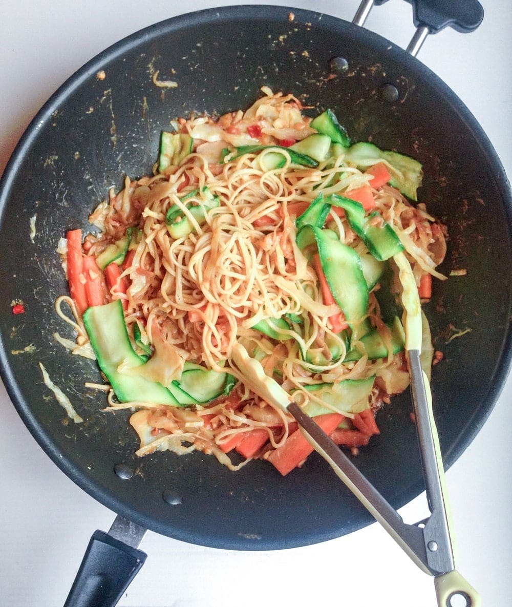Courgette & Carrot Stir Fry With Peanut Sauce