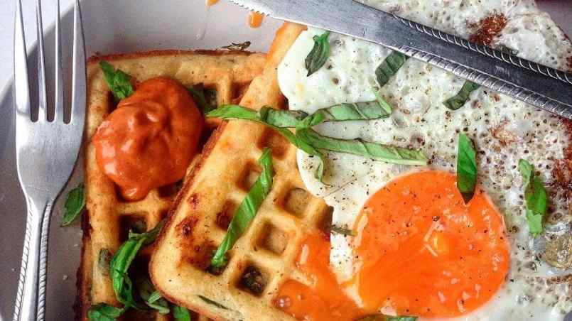 These feta, spinach & chorizo waffles make a perfect meal at any time of day. Top them with a fried egg for a filling breakfast, lunch or dinner.