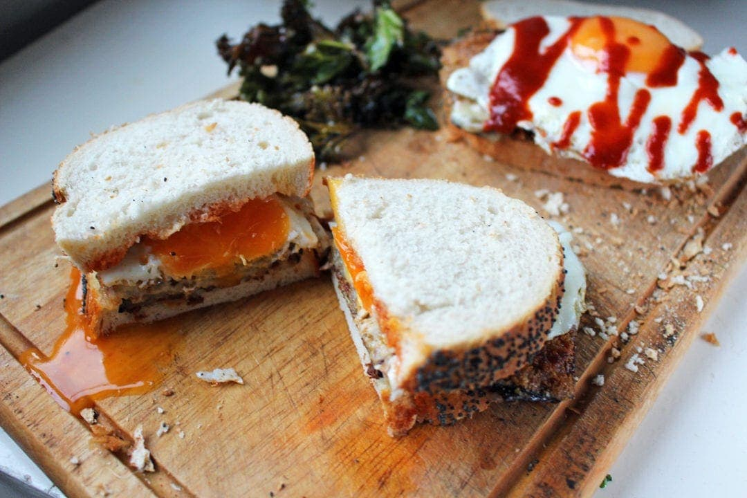 Panko Aubergine & Egg Sandwiches with Kale Chips