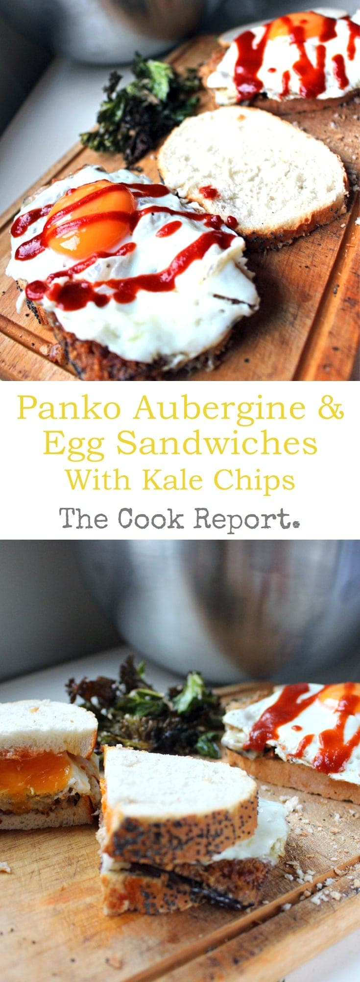 This Panko Aubergine & Egg Sandwich with kale chips is a delicious vegetarian meal which works at any time of day.