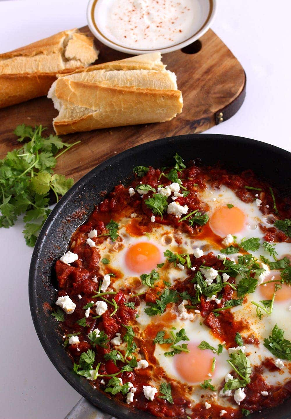 This chorizo shakshuka is full of smoky flavour from the chorizo and smoked paprika. Serve with crusty bread for those runny yolks and a dollop of yoghurt.