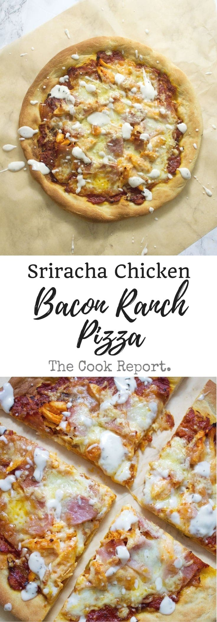 This sriracha chicken bacon ranch pizza is the perfect combination of spicy and salty with a hint of creamy ranch to finish things off!