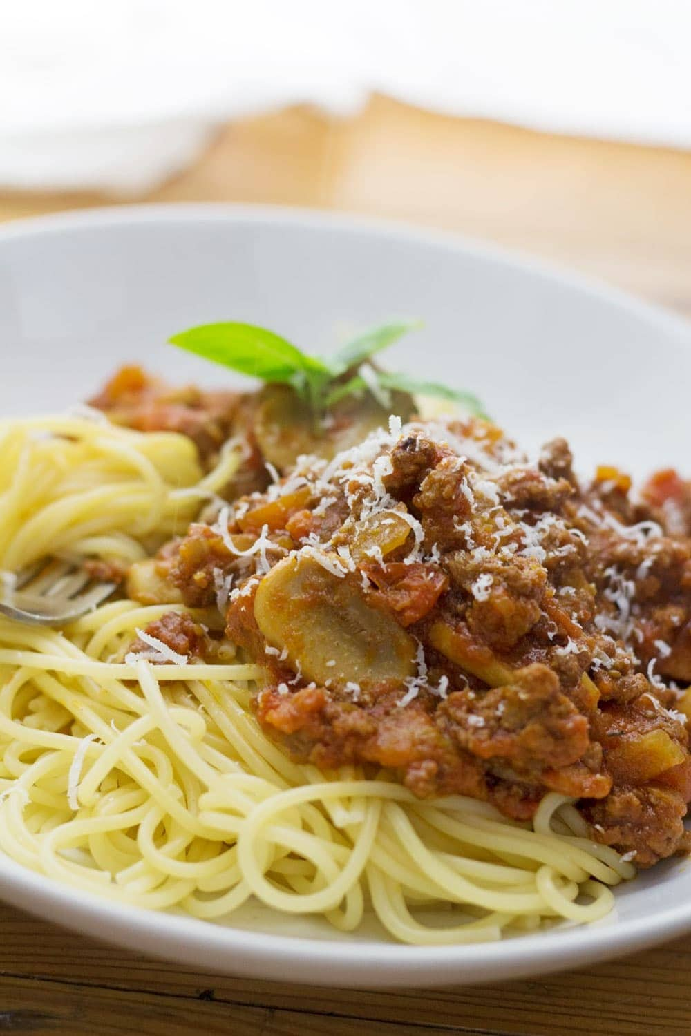 This beef, bacon and mushroom ragu is easy, tasty and the perfect comfort food. Serve on top of spaghetti with a shaving of parmesan.