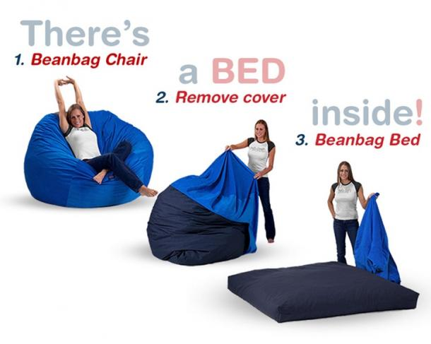 chair that converts to a bed covers yellow bean bag the coolest stuff ever