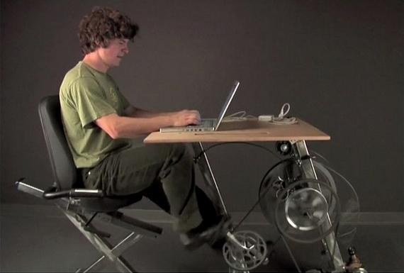 Pedal Powered BikeDesk That Charges You Laptop  The