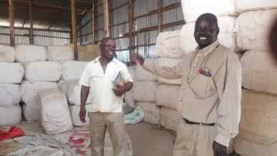 The Ginnery Manager Robert Otukei (l) and the East Acholi Cooperative Union Secretary Manager Okumu Boaz at the ginnery