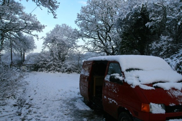 The trust van on a particularly wintery day
